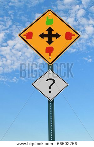 four directions intersection road sign, good and bad choice concept