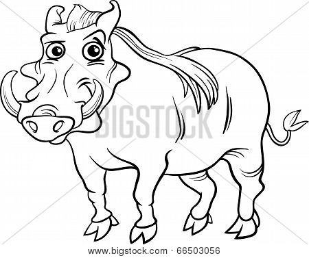 Warthog Animal Cartoon Coloring Book