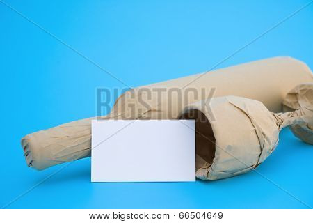 Blank Card And Wine And Cup On Blue, Vertical