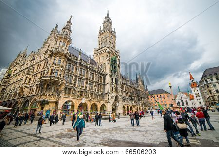 MUNICH, GERMANY - MAY 13: Marienplatz in Munich on may 13, 2014. It has been the city's main square since 1158. Munich is the biggest city of Bavaria with almost 100 million visitors a year.