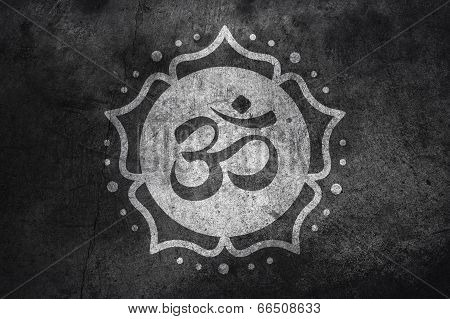 Om Symbol On Concrete