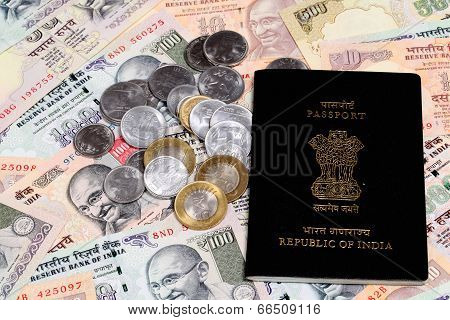 Passport On Indian Rupee Notes