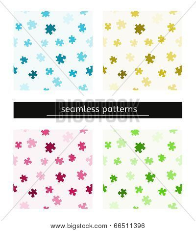 Seamless Pattern With Puzzle Pieces