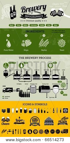 Brewery infographics with beer elements & icons - beer production process