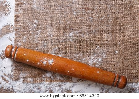 Rolling Pin On Sackcloth And Flour Horizontal