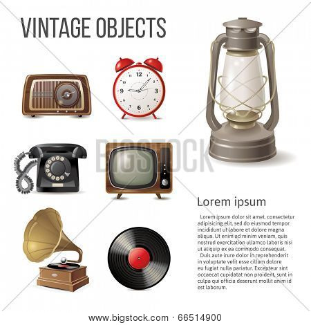7 vintage objects over white background