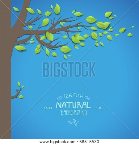 Natural background with tree and blue sky. Vector illustration. Place for text.