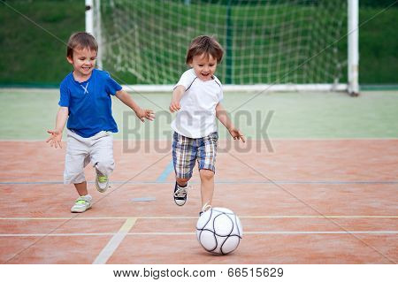 Two Little Boy, Playing Football