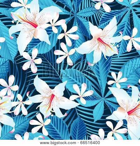 Tropical Hibiscus Floral 5 Seamless Pattern