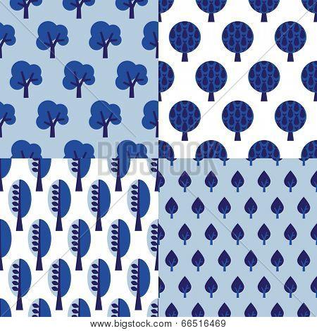 Seamless indigo blue retro tree illustration background collection set pattern set in vector