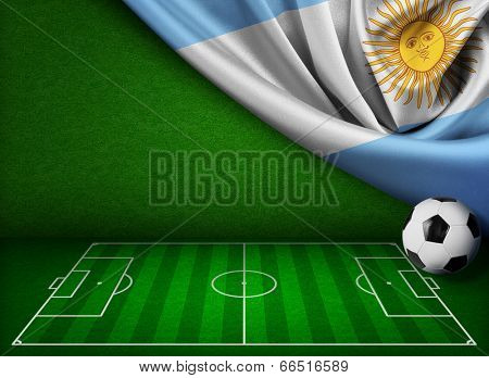Soccer or football background with flag of Argentina