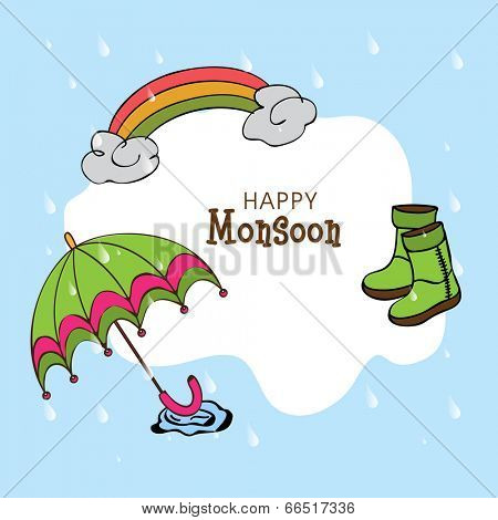Kiddish illustration for Happy Monsoon Season with clouds, rainbows, boots and umbrella in the rain season.
