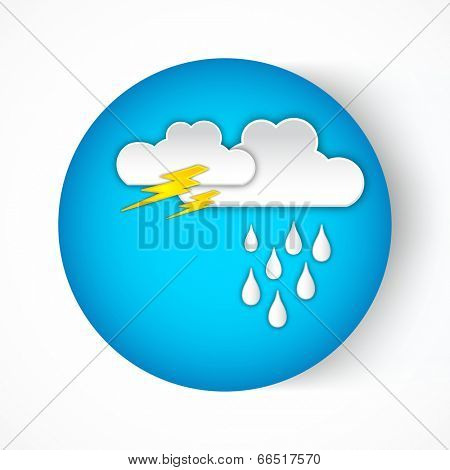 Stylish sticky blue design with clouds, thunder icon and rain drops for Monsoon Season.