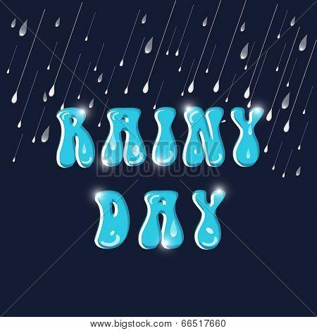 Monsoon season concept with glossy blue text Rainy Day.