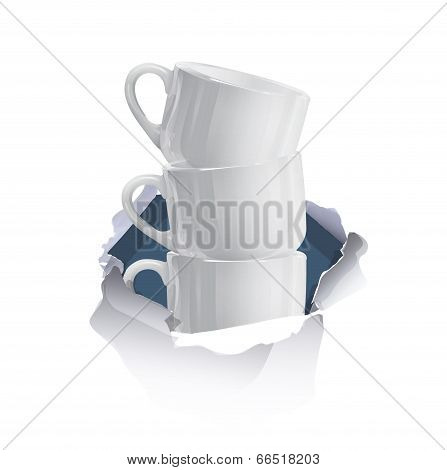 Hole Cupscup Of Coffee Inside Hole Paper Over White Background