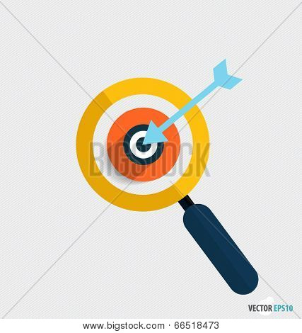 Modern Flat design icon vector illustration. Business working elements for web design, business, finance, e-commerce, seo optimizations, mobile applications, social networks. (Magnifier and dartboard)