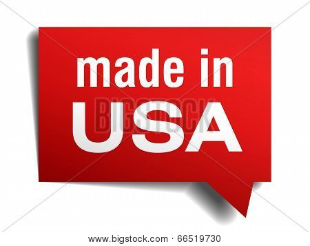 Made In Usa Red 3D Realistic Speech Bubble Isolated On White Background