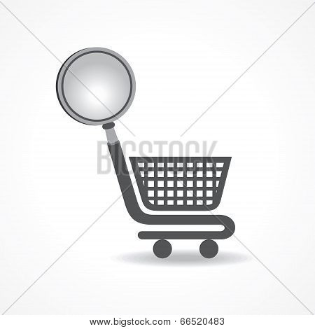 Searching for shopping concept with magnifier stock vector