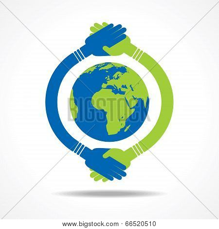Businessman handshake around a earth stock vector