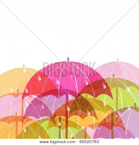 Colorful shiny umbrellas and space for your messages, concept for Happy Monsoon Season.