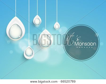 Stylish hanging rain drops on shiny blue background, creative concept for Monsoon Season.