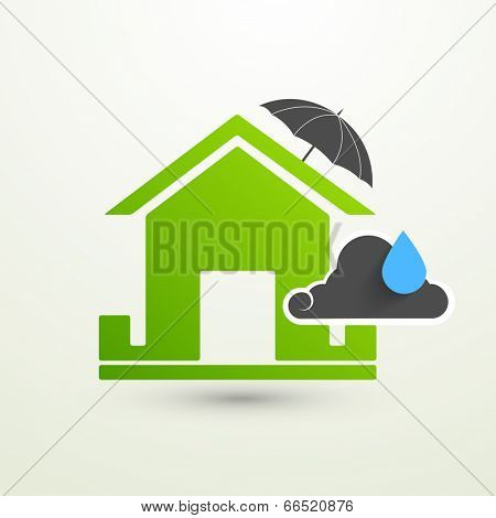 Green Eco House covered under umbrella with cloud and blue rain drop.