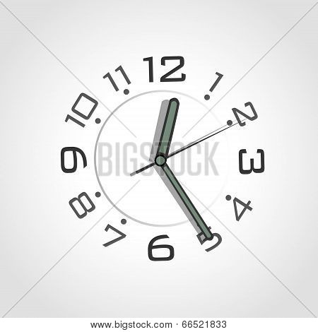 Simple Watch Over Grey Background. Vector Design.