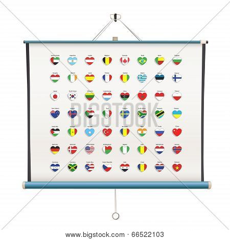 Set Of Flags Heart Inside Projector Screen Over White Background