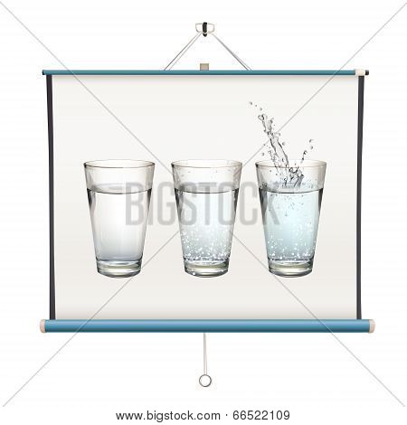 Set Of Realistic Water Glasses Inside Projector Screen Over White Background