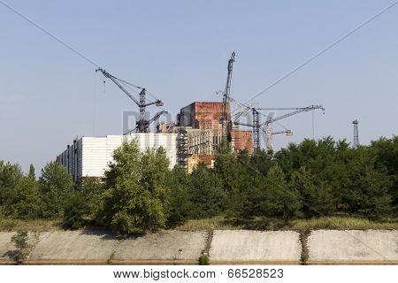 Constuction plant of nuclear reactor 5 and 6, which was abandoned after nuclear disaster in Chernobyl at 26.04.1986
