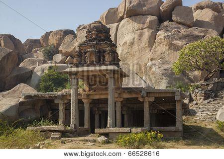 Sacred tanks - Pushkarami at the Krishna Temple near Vittala temple at Hampi, Karnataka, India.