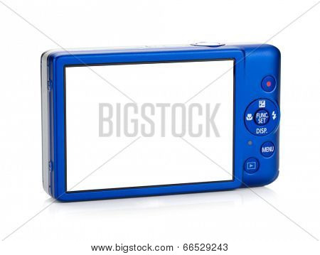Blue compact camera. Rear view. Isolated on white background