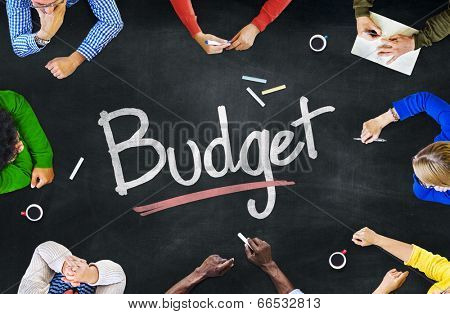 Multi-Ethnic Group of People and Budget Concept