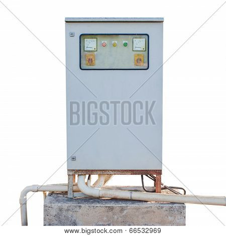 Power Control Cabinet On Isolated White Background