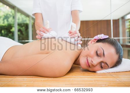 Smiling woman getting a back massage with herbal compresses in the health spa