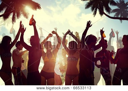 Young People Celebrating by the Beach