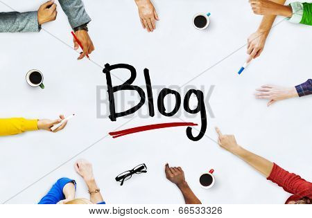 Multi-Ethnic Group of People and Blog Concept