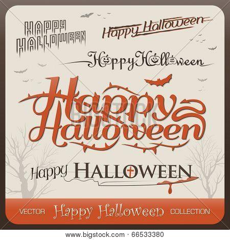 Set of happy halloween greetings typography