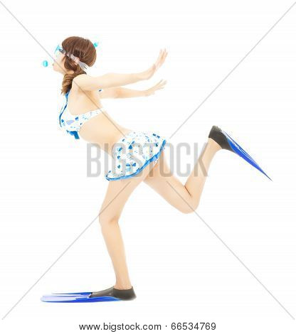 Young Girl Runs With Scuba Diving Equipment Isolated On A White