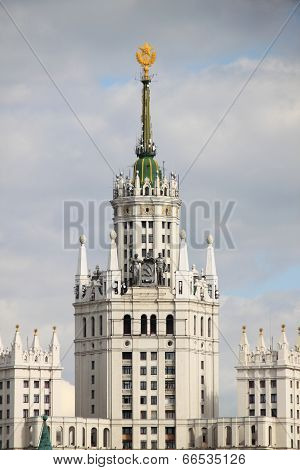 Highrise Soviet Era Building in Moscow