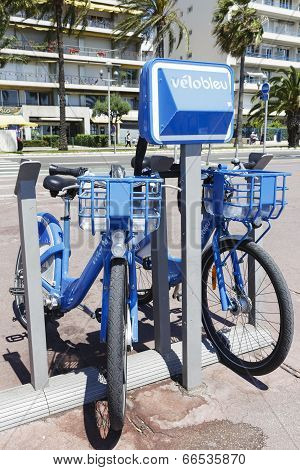 Two Bicycles For Hire At Promenade Des Anglais