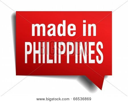 Made In Philippines Red  3D Realistic Speech Bubble Isolated On White Background