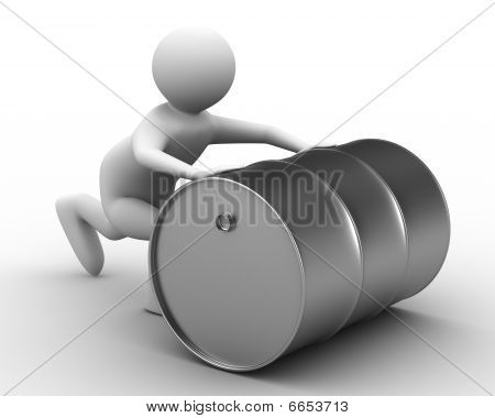 Men Push Vat On White Background. Isolated 3D Image