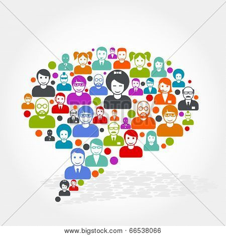 Social networking - speech bubble made of people icons