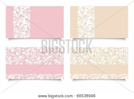 Pink and beige business cards with floral patterns. Vector EPS-10.