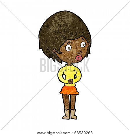 cartoon concerned woman