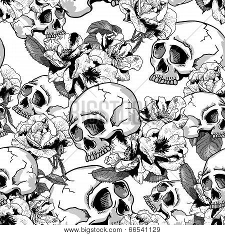 Skull and Flowers Seamless Background