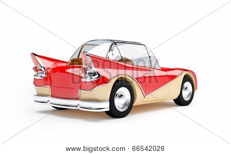 retro futuristic car 1960 back