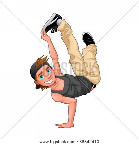 Funny breakdancer. Vector isolated character.