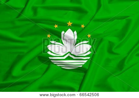 Macao Flag On A Silk Drape Waving